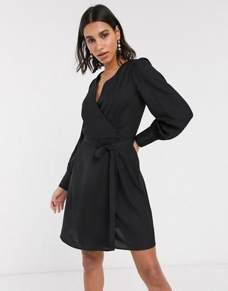 Vero Moda mini dress with wrap detail in black