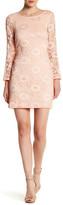 Robbie Bee Long Sleeve Textured Lace Midi Dress