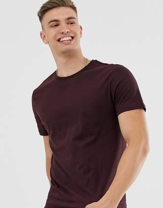 Burton Menswear t-shirt in burgundy-Red