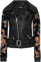 Junya Watanabe Flocked Jacquard-paneled Faux Leather Biker Jacket - Black