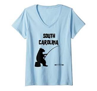 Womens South Carolina Shirt   SK Bear Fishing for Women V-Neck T-Shirt