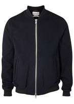 Oliver Spencer Bermondsey Navy Wool Blend Bomber Jacket