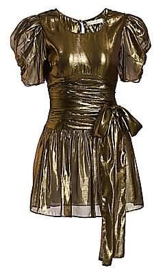 LoveShackFancy Women's Mercy Metallic Puff-Sleeve Tie-Waist Mini A-Line Dress - Size 0