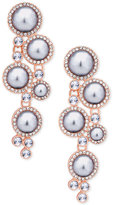 GUESS Rose Gold-Tone Imitation Pearl and Crystal Drop Earrings