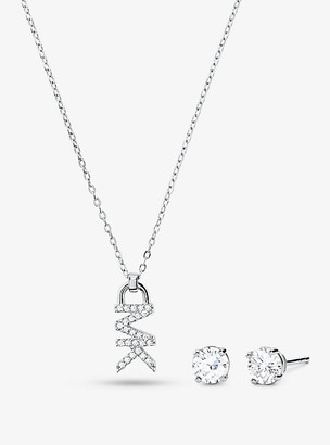 Michael Kors 14K Rose Gold-Plated Sterling Silver Pave Logo Necklace and Stud Earrings Set - Gold