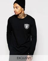 Majestic Longline Long Sleeve Raiders T-shirt - Black