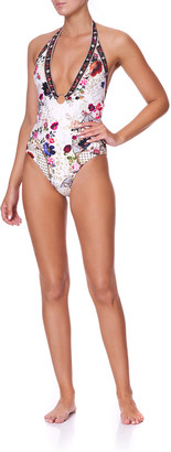 Camilla Plunge V Floral Print One-Piece Swimsuit w/ Ring Trim