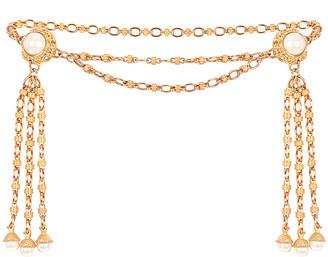 MARKARIAN x Ciner Faustina Double Pearl Tassel Belt in Gold | FWRD