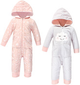 Hudson Baby Girls' Rompers Pink - Pink Cloud Zip-Front Fleece Hooded Playsuit - Set of Two