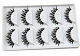 Sandistore Natural Handmade long False Eyelashes Makeup Tool (Black 6)