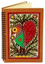 Handmade Madhubani Painting Journal, 'Bihar Lovebird'
