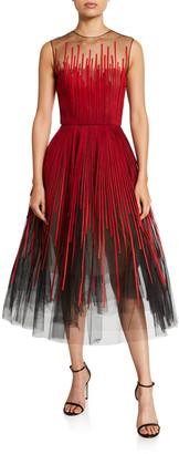 Oscar de la Renta Embroidered Tulle Tea-Length Dress