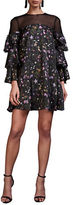 Cynthia Rowley Prairie Floral Printed Three Quarter Sleeve Trapeze Dress