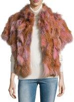 Pologeorgis Fox Fur Batwing Vest, Blush