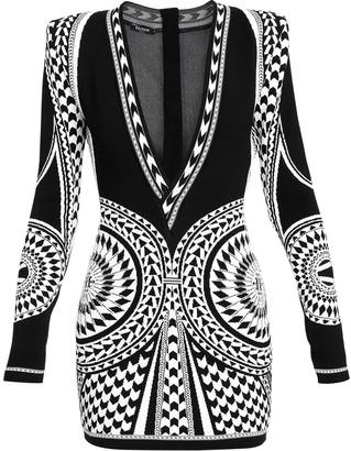 Balmain Mini Geometric Jacquard Dress
