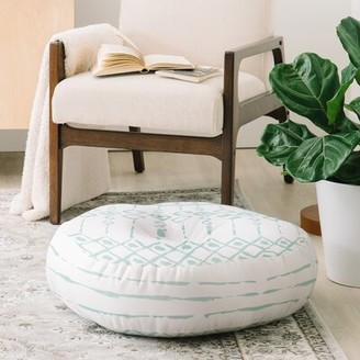 East Urban Home Wonder Forest Boho Loco Round Floor Pillow Color: Blue
