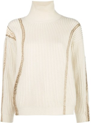 Oscar de la Renta Embroidered Knitted Jumper