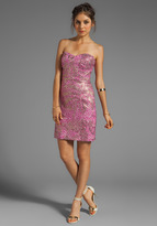 Milly Pebble Print Lurex Jacquard Corsette Strapless Dress