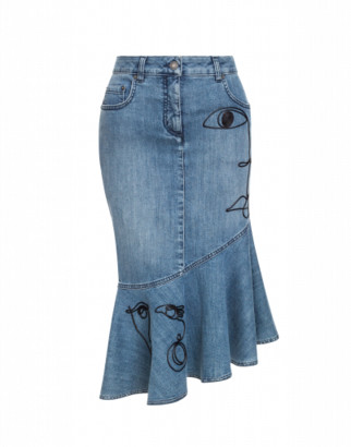 Moschino Denim Skirt With Cornely Embroidery
