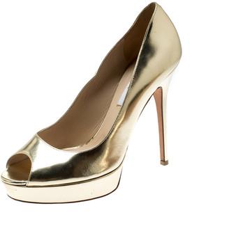 Jimmy Choo Metallic Gold Foil Leather Peep Toe Platform Pumps Size 39.5