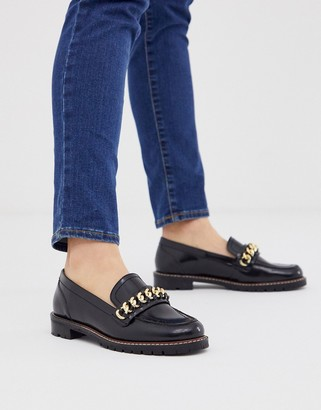 Office Fanella chunky flat loafer with chain detail