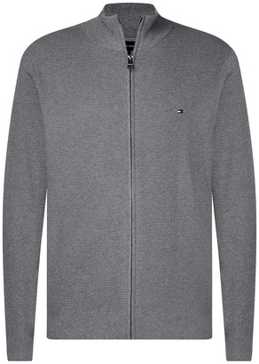 Tommy Hilfiger Structured Cotton Zipped Cardigan with High-Neck