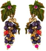 Les Nereides Royal Gardens Bunch of Grapes and Leaf Earrings - Purple