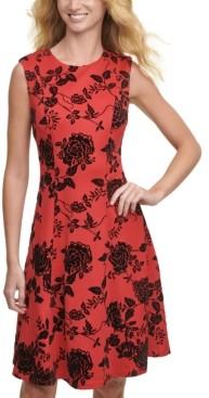 Tommy Hilfiger Velvet-Flocked Shadow Floral Scuba Dress