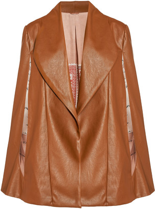 Johanna Ortiz Compass Point Embroidered Vegan Leather Cape Jacket