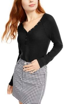 Ultra Flirt Juniors' Cozy Waffle-Knit Henley Top