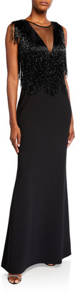 Aidan Mattox Plunge V-Neck Illusion Beaded-Fringe Sleeveless Gown