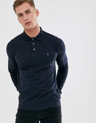 French Connection long sleeve jersey polo-Navy
