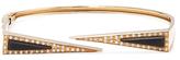 Maiyet 18K Yellow Gold, Black Horn & 0.95 Total Ct. Diamond Dagger Slice Open Bangle Bracelet