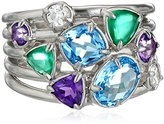 Kenneth Jay Lane Fine Jewelry Sterling Silver, Chalcedony, Amethyst, and Topaz Ring, Size 7