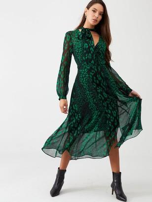 Wallis Abstract Animal Dress - Green