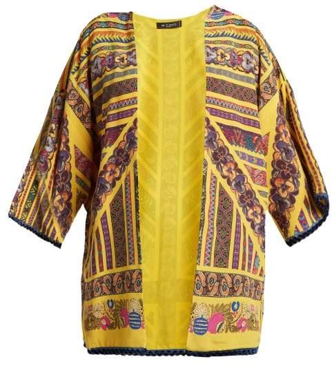 Etro Multi Print Silk Jacket - Womens - Yellow