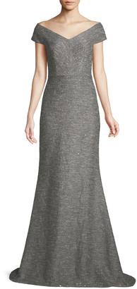 Lela Rose V-Neck A-Line Speckled Tweed Evening Gown