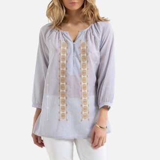 Anne Weyburn Striped Cotton Blouse with V-Neck and Embroidery