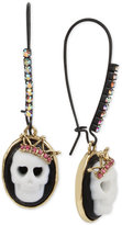 Betsey Johnson Two-Tone Skull Cameo Pink Crystal Drop Earrings