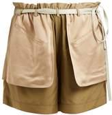 Valentino Contrast-pocket elasticated-waist silk shorts