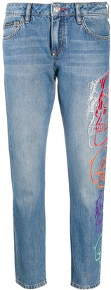 Philipp Plein Look At Me Skull boyfriend jeans