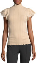 Rebecca Taylor Short-Sleeve Pointelle Scalloped Lace Top