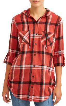 No Boundaries Juniors' Hooded Flannel Shirt