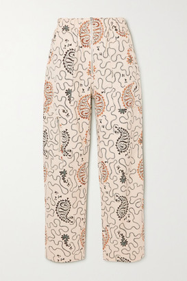 Etoile Isabel Marant Noferis Printed Cotton Straight-leg Pants - Ecru