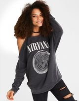 American Eagle Outfitters AE Cold Shoulder Nirvana Graphic Sweatshirt