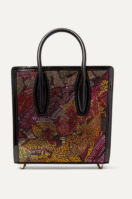 Christian Louboutin Paloma Small Embellished Printed Leather Tote - Metallic
