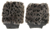 Topshop Faux Fur Leopard Palm Warmers