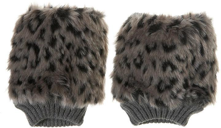 Topshop Faux Fur Leopard Palm Warmers