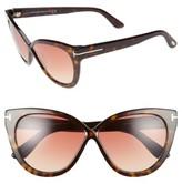 Tom Ford Women's Arabella 59Mm Cat Eye Sunglasses - Black/ Havana/ Brown Flash
