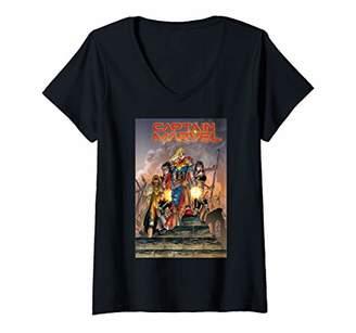 Marvel Womens Comixology Captain Revolution Comic Book Cover V-Neck T-Shirt